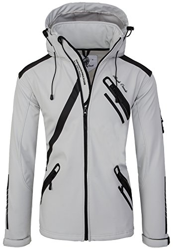 Rock Creek Herren Softshell Jacke Outdoor Regenjacke Softshelljacke Windbreaker Laufjacke Wanderjacke Funktions Sport Jacken H-127 Lightgrey M