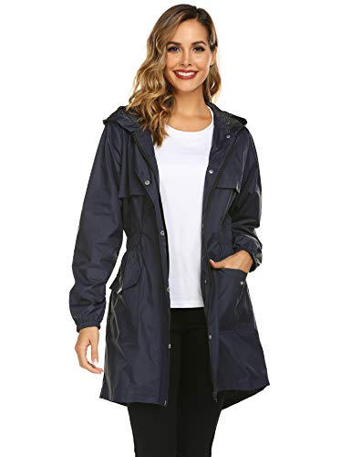 Avoogue Trench Coats for Women, Lightweight Hooded Waterproof Outdoor Zipper Rain Jacket Navy Blue