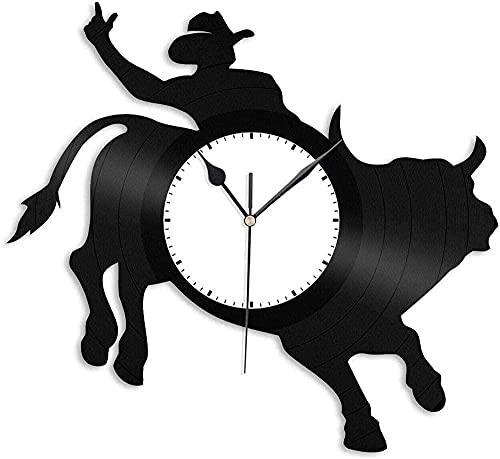 mbbvv Toro Reloj de Pared de Vinilo Amante de los...