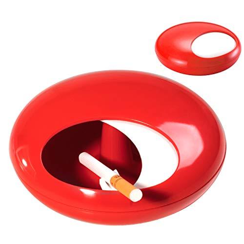 灰皿 テーブル用灰皿 タバコ ふた付き 卓上灰皿 大容量 メラミン製 ユニーク設計 室内 室外 楕円形 はいざら ビッグサイズ 2色 (赤)