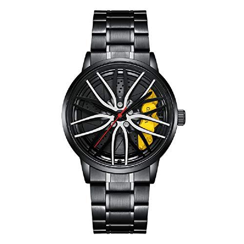 Flytise Reloj de Cuarzo con Correa de Acero inoxble, Reloj de Pulsera multifunción de Moda, 3ATM, Relojes Huecos para Hombres y niños