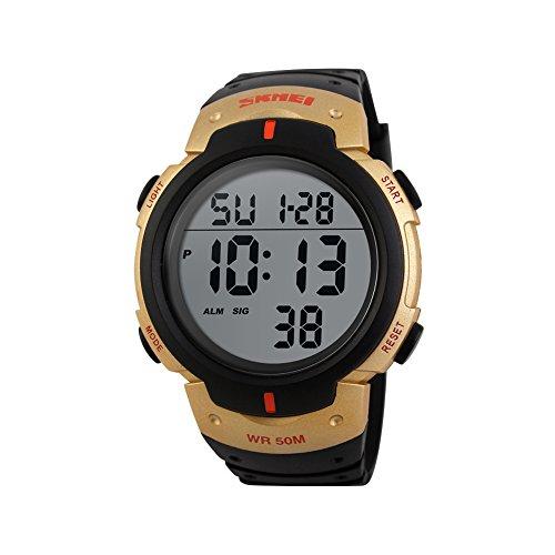 iLove EU Herren Armbanduhr 50m Wasserdicht Digital LED Alarm Datum Uhr Sportuhr Gold Schwarz