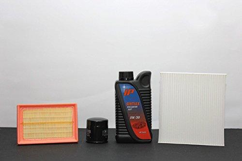 3 filters (lucht- en oliefilter) + 5 liter olie