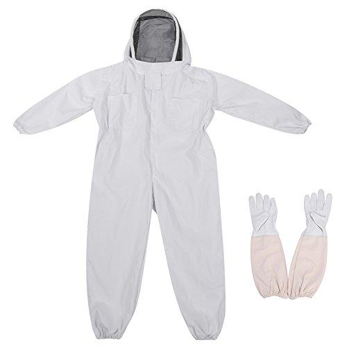 Zerodis Imkerei Anzug Schutzbekleidung mit Langen Handschuhen Anti-Moskito mit Schleier Bienenzucht Werkzeuge Zubehör Imkerei Ausrüstung(L)