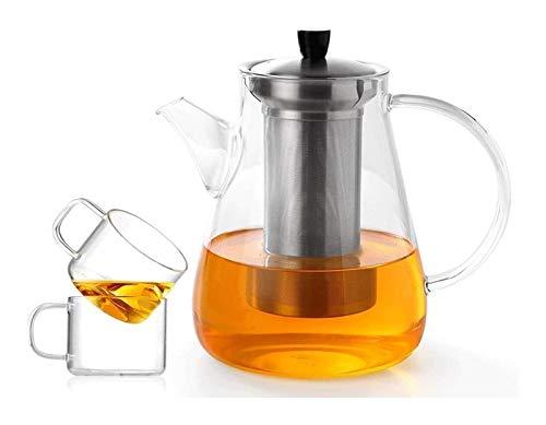 Tetera de vidrio Tetera de vidrio Tetera de cristal de vidrio Conjunto de tetera gruesa Tetera resistente al calor Taza elegante Copa de té de la taza de té viene Tetera transparente ( Size : 1200Ml )