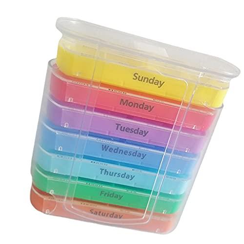 SM SunniMix Organizador de píldoras semanal, Almacenamiento Diario de medicamentos 4 Veces al día, Gran Capacidad Resistente a la Humedad, para Contener píldoras,