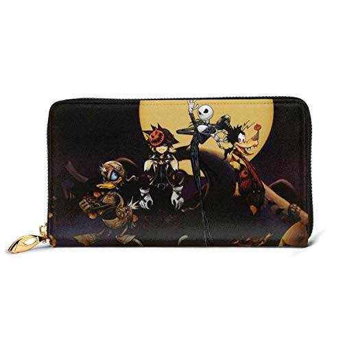 Cuero Embrague Kingdom Hearts Donald Du Wallet Zipper Mujeres Moda Pulsera Monederos Teléfono Crédito Multi Tarjeta Titular Organizador Carteras