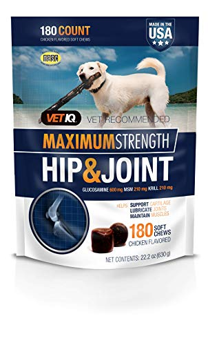 VETIQ Maximum Strength Hip and Joint Supplement for Dogs, Chicken Flavored Soft Chews, 22.2 oz, 180 count bag