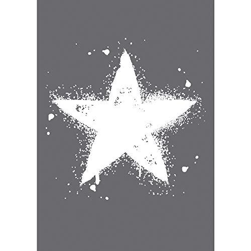 Rayher Hobby 4503400 Schablone Stern, DIN A4, mit Rakel, Siebdruck-Schablone, Malschablone, selbstklebend