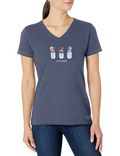 Life is Good Womens Crusher Flower Graphic V-Neck T-Shirt, Darkest Blue, Large