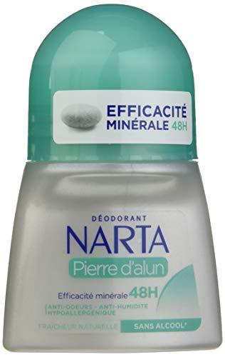 NARTA Déodorant Femme à la Pierre d'Alun Efficacité Minérale 48H, 50 ml
