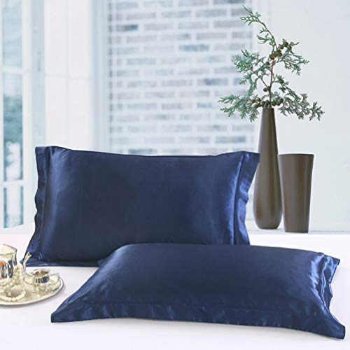 シルク枕カバー,ピロケース43×63CM,サテン封筒式2枚,紺(枕は含まれていません)