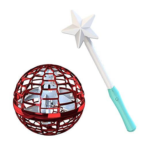 You's Auto Fliegender Ball Spielzeug,360 °Drehung Flying Ball Bumerang mit Einem Magischen Controller und Bunten LED Lichtern Infrarot Induktions Fliegendes Spielzeug für Kinder Erwachsene (Rot)