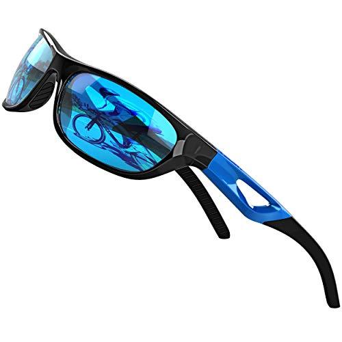 ATTCL Herren Sonnenbrille Polarisierter Sports Fahren Golf Laufen Superleichtes Rahmen 306 Blue+Blue