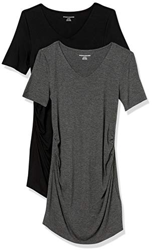 Amazon Essentials Maternity 2-Pack Short-Sleeve Rouched V-Neck T-Shirt Fashion, Charcoal Heather/Black, US S (EU S-M)