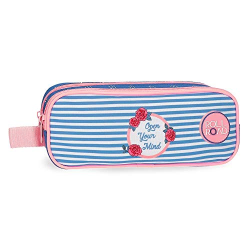 Roll Road Rose Trousse double compartiment Bleu 23x9x7 cms Polyester