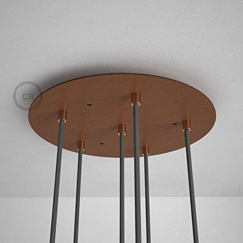 Rosace XXL ronde 35cm à 6 trous cuivre satiné avec les accessoires.