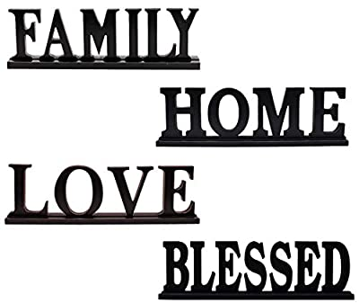 "Rustic Wood Family Sign for Home Decor Set of 4, Decorative Wooden Cutout Word Decor Freestanding Family Tabletop Decor, 16.5"" X 5"" Decorative Family Word Art Wood Sitter (Black Assorted Pack-C)"