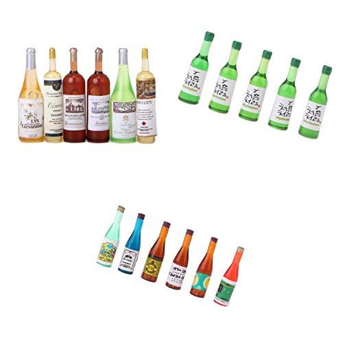 non-brand 3 Sets Moderna Botella de Vino Miniatura Botellas de Champagne Drink 1/12 Escala de Dollhouse
