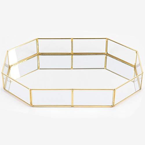 precauti Vintage Glas Ablagetablett Parfüm Kerze Spiegel Kosmetik Tablett Desktop Storage Dekorative Platte Schmuck Dekoration Metall Glas Organizer Tablett für Kommode, Badezimmer, Schlafzimmer