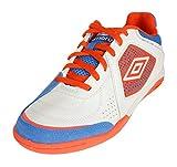 Umbro Men's Sala Liga Indoor Court Soccer Shoes, White/Cherry Tomato/Ibiza Blue 12