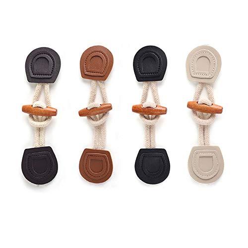 Anyasen Knebelknöpfe 16 Paar Leder Horn Knebelverschlüsse Holz Knebelknöpfe mit Verschluss Nähknöpfe für Nähen für Dufflecoat Mantel Handwerk DIY Dekoration,4 Farben,16cm