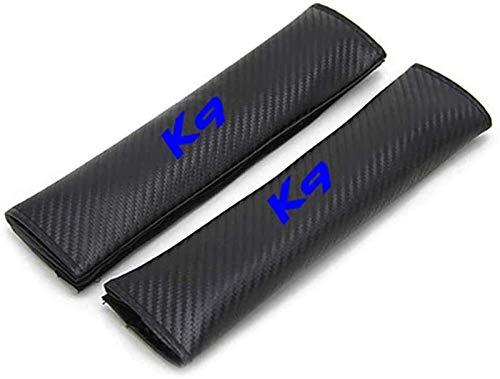 2 piezas de coches sefety cubierta de asiento del cinturón for Kia K9, transpirable fibra de carbono asiento de coche de la correa de ratón for adultos y niños, Styling Accesorios Decoración, Azul