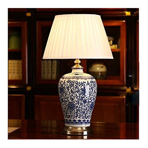 Lfixhssf Chinees blauw en wit tafellamp van porselein, klassiek retro-keramiek-keramiek, bureau als levensdecoratie, Lfixhssf