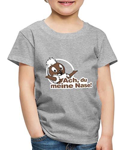 Sandmännchen Pittiplatsch ACH Du Meine Nase Kinder Premium T-Shirt, 98-104, Grau meliert