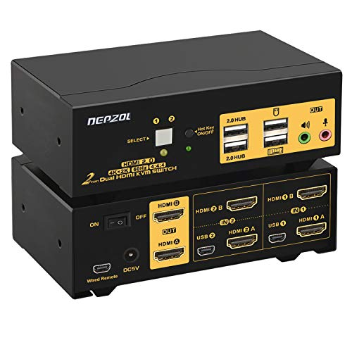 2 Port KVM Switch HDMI Dual Monitor 4K 60Hz, DEPZOL KVM Switch for 2 Computers 2 Monitors with USB 2.0 HUB and Cables 922HUA-2