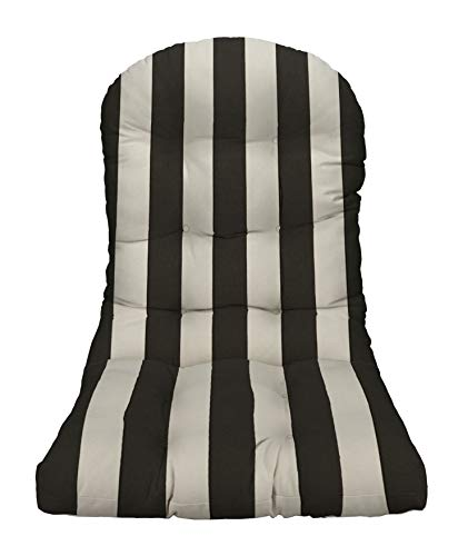 Resort Spa Home Decor Outdoor Tufted Adirondack Chair Cushion - Black