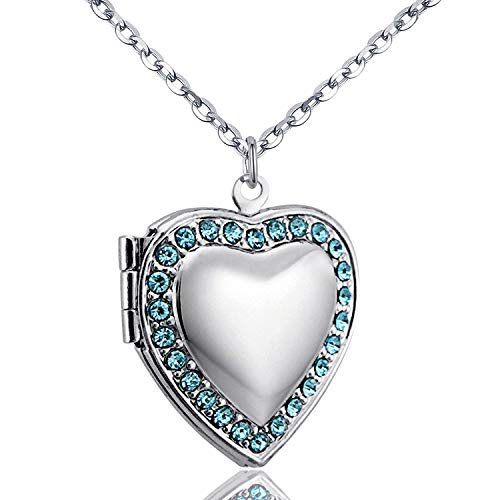 YOUFENG Love Heart Locket Necklace Holds Pictures Paved Blue Red White CZ Rose Gold Charm Living Memory Lockets (Blue CZ Locket)