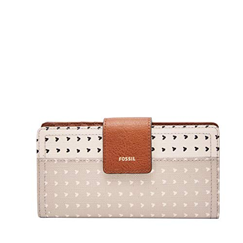 Fossil Women's Logan Faux Leather RFID Tab Clutch Wallet, Hearts