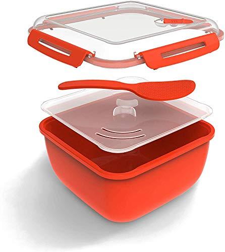 Rotho Memory Microwave Reiskocher 2,5l mit Deckel und Löffel für die Mikrowelle, Kunststoff (PP) BPA-frei, rot/transparent, 2,5l (19,5 x 19,5 x 12,1 cm)