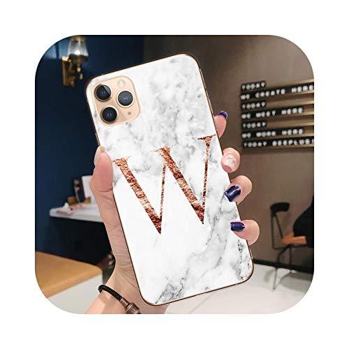 Carcasa para iPhone 12, diseño de letras monograma A B C D mármol blanco, carcasa de TPU flexible para iPhone 12 Mini 11 Pro Max X XR Xs-T7522-For iPhone 11 Pro