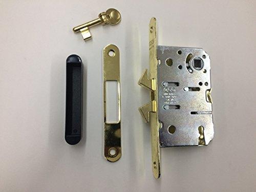 Serratura AGB Scivola TT per porte scorrevoli con quadro maniglia Q8 e chiave, ottone verniciato entrata 50 completa di contropiastra e chiave, frontale 16x168 mm, incontro contropiastra 128x18mm