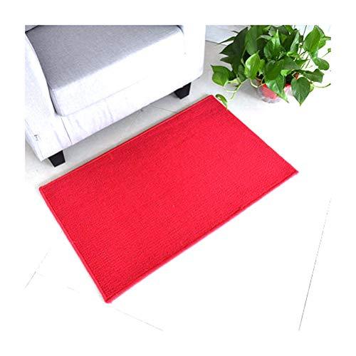 WK Felpudo de interior, grueso, absorbente, resistente a la suciedad y no destiñe, utilizado en la entrada de la cocina, dormitorio, pasillo (color: rojo, tamaño: 90 x 50 cm)