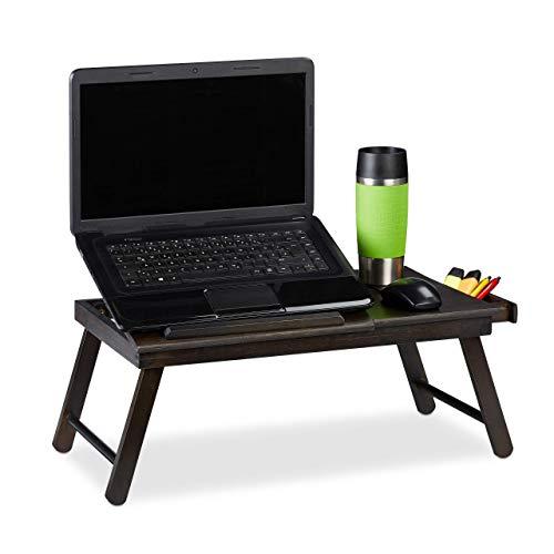 Relaxdays Bambus Laptoptisch, HBT: 25x60x35cm, höhenverstellbare Laptopablage, klappbar, mit Schublade, dunkelbraun