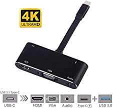 Accreate USB C to HDMI Adapter 4K 5 in 1 Type-C to HDMI/VGA/Audio/USB3.0 Port+USB C Port for MacBook Pro/Samsung Galaxy Note 8/S8/S9/Lumia 950Xl/Nintend Switch and More