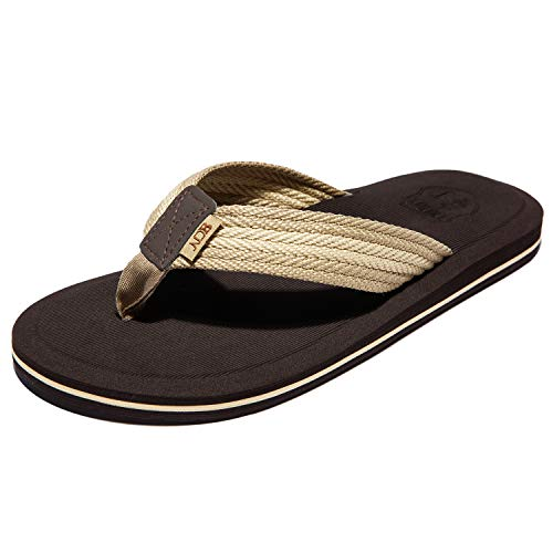 NeedBo NDB Men's Flip-Flops Classical Thongs Sandals Comfortable Slippers for Beach (7 M US, Beige/Brown)