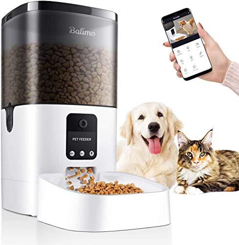 Balimo 4L Wi-Fi Comedero Automático para Gatos y Perros con App Control, Full 1080p HD Cámara y Visión Nocturna con Control Programable por Temporizador