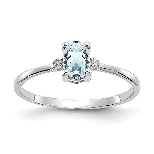 14k White Gold Diamond and Aquamarine Birthstone Ring, Size 51 1/2
