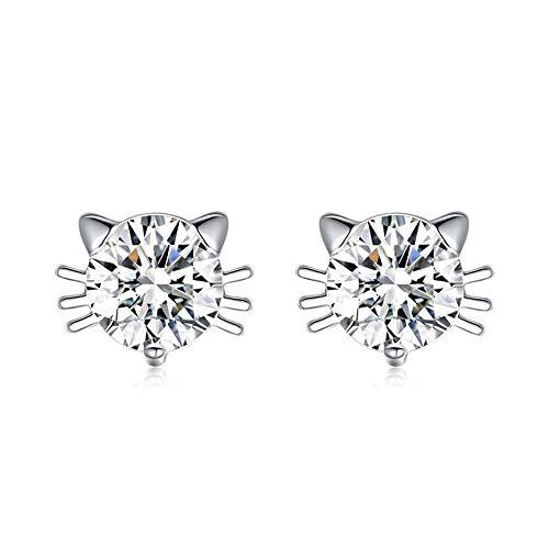 Lumanuby - Joyería de cristal de Hello Kitty de plata brillante para...