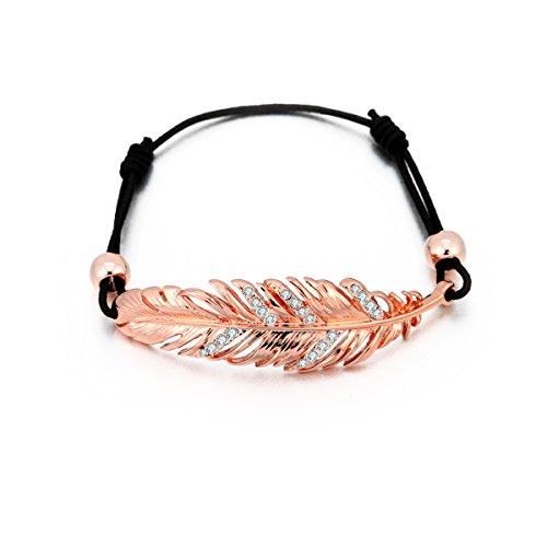 Pulsera de encanto para mujer, pulsera de pluma de la suerte pulsera de pulsera de cordón ajustable de cera nudo negro con cristal oro rosa