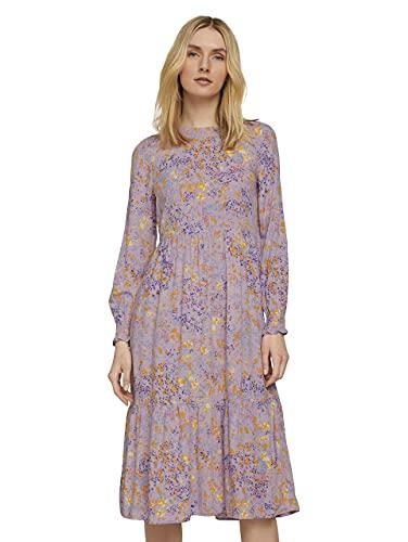 TOM TAILOR Damen 1024015 Volant Kleid, 26409-Lilac Yellow Flower, 36