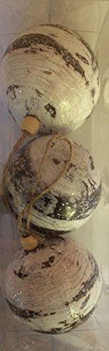 Kaemingk Boule de Noël en Mousse, décoration en Bois X3