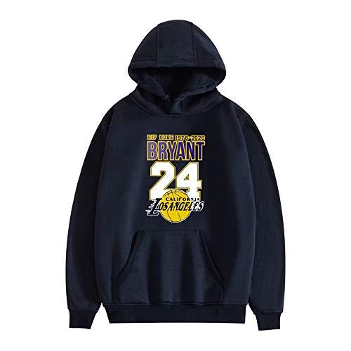 Los Angeles Lakers Bryant # 24 Felpa con Cappuccio da Uomo, Felpa con Cappuccio da Basket NBA, Maglia Sportiva Pullover Casual Moda Manica Lunga Jersey,Navy Blue,L
