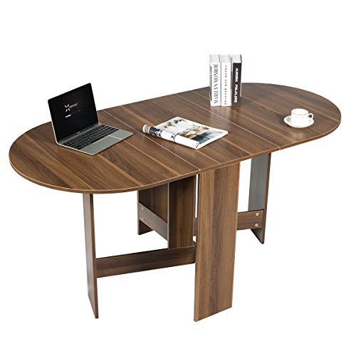 COSTWAY Tavolo Pieghevole da Pranzo, Tavolo da Lavoro, Tavolo Multiuso, Design Moderno, 163 x 80 x 75 cm