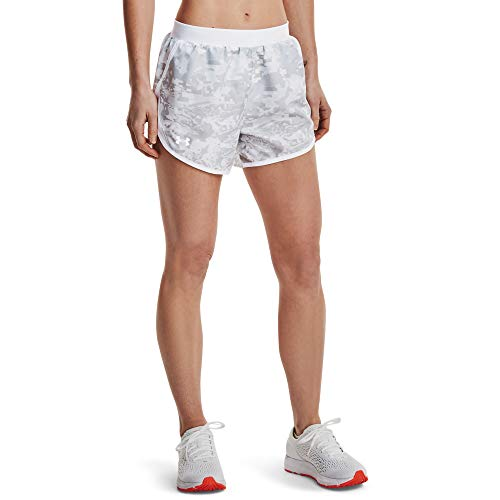 Under Armour Women's Fly By 2.0 Printed Running Shorts , Halo Gray (014)/Reflective , Medium