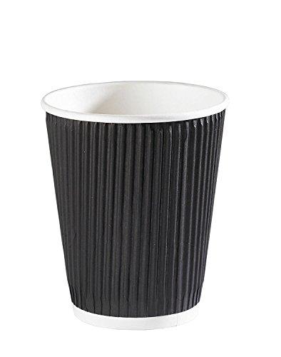 Thali Outlet Bicchieri usa e getta di carta termoisolante Kraft increspata a 3 strati, capacità: 227 ml, ideali per tè, caffè, cappuccino e altre bibite calde, confezione da 100, neri